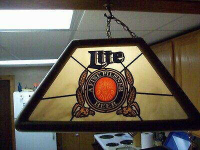 A  Vintage 1988 Miller Lite Beer A Fine Pilsner Hanging Pool Table Bar Light 20""