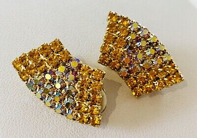 Vintage Gold Tone & Crystal Clip On Earrings