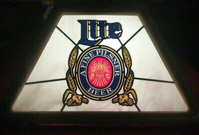 Vintage MILLER LITE Hanging Bar/Pool Table Advertising Light Fixture!!