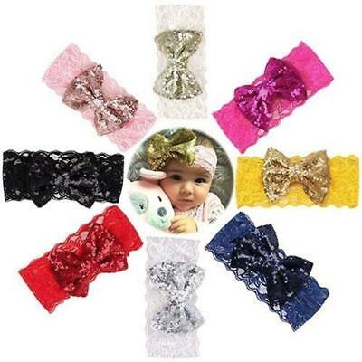 Baby Headband Bowknot Sequins Hairband Soft Elastic Bow Hair Accessories Gift YI
