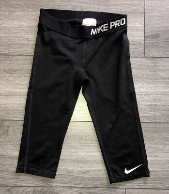 Girls Nike Pro Dri-Fit Black 3/4 Leggings Size Small - Age 8-10 Years