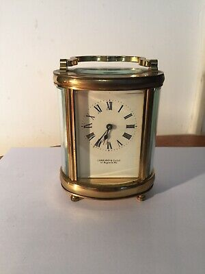Garrard&Co London Oval Brass Carriage Clock With Key Bevelled Glass