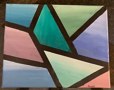 Acrylic on canvas 8X10 geometric abstract painting by an up and coming Artist