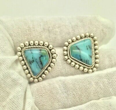 NEW Navajo Little Artie Yellowhorse Rising Sun Sterling Turquoise Earrings CRI