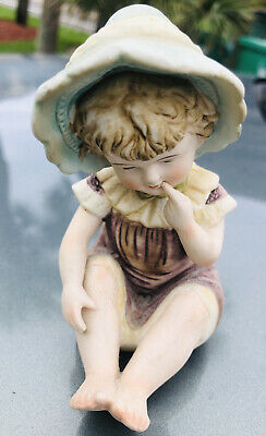 Vintage Piano Baby Bisque Porcelain Girl In Bonnet