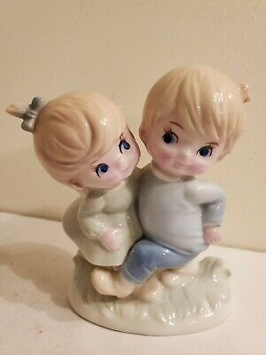 Porcelain Dancing Boy and Girl Figurine Made in Japan