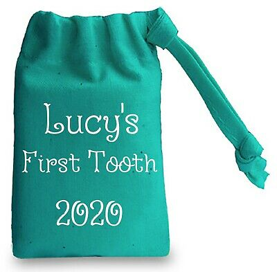Personalised First Tooth 2020 Turquoise Mini Drawstring Bag
