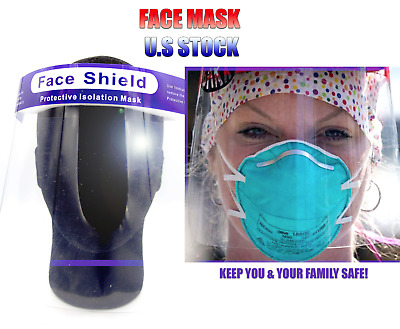Protective Full Face Shield Reusable Washable Cover Face Mask Anti Fog US STOCK