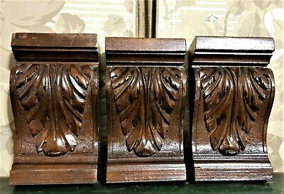 3 acanthus leaf wood carving corbel bracket antique french architectural salvage