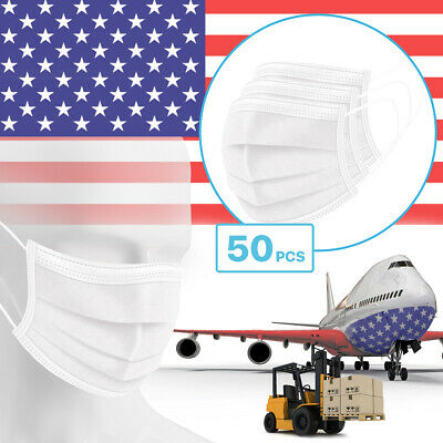 50 Packs - White 3-Ply Disposable Procedural Face Mask Protective Mouth Cover