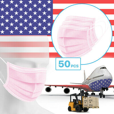 50 Packs - Pink 3-Ply Disposable Procedural Face Mask Protective Mouth Cover