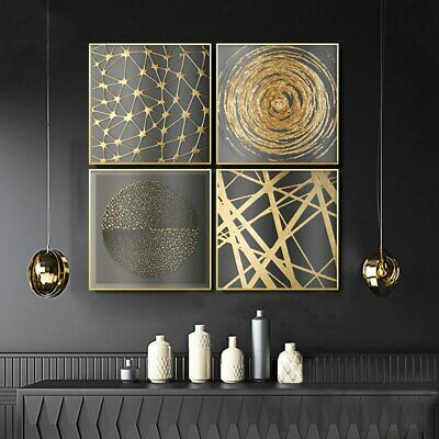 Modern Abstract Minimalist Canvas Painting Golden Texture Home Decor Wall Prints