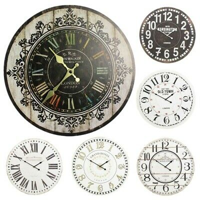 30cm Extra Large Round Wooden Wall Clock Vintage Retro Antique Distressed Chic