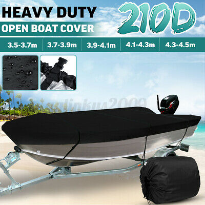 Waterproof Open Boat Cover Marine Grade Trailerable V-hull Fishing Boat 3.5-4.3M