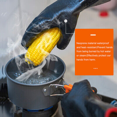 BBQ Gloves Fireproof Cooking Oven Grilling Silicone Kitchen Welding smooth E6W5