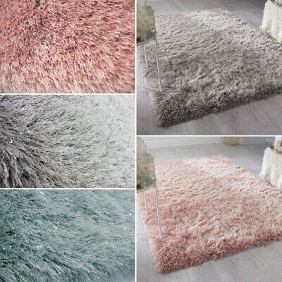 Soft Area Rugs Dazzle Sparkle Deep Pile Shaggy Rug Shimmer Glitter Floor Mat UK
