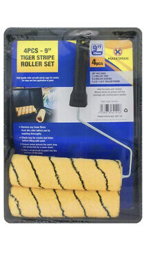 """9/"""" Paint Roller Set 4pc Decorating Home Painting Woven Emulsion Masonry M Pile"""