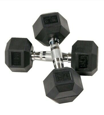Body Sport Rubber Encased Hex Dumbbell 80-Pound BDSRSDB80