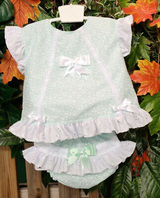 DREAM 0-5 YEARS baby girls summer MINT FLORAL top frilly pants  OR reborn dolls