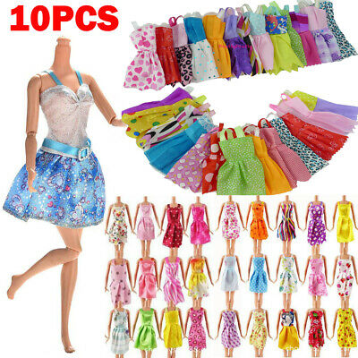 10Pcs/Set Fashion Barbie Doll Dresses Party Prom Gown Summer Beach Casual Dress