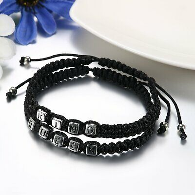 1 Pair Handmade Leather Rope Lovers Matching His Queen Her King Couple Bracelets
