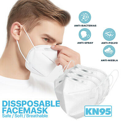 [20 Pieces] Disposable KN95 Face Mask Protective >95% Filter Cover PM2.5 FFP2