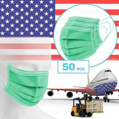 50 Packs - Green 3-Ply Disposable Procedural Face Mask Protective Mouth Cover