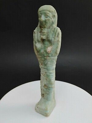 Ancient Egyptian Ushabti Faience Statue Rare Antique Old Shabti Egypt Genuine BC