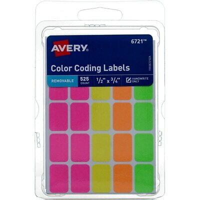 """1,440 ct Avery Color Coding Dots 1//4/"""" Round Removable Labels Assort Neon"""