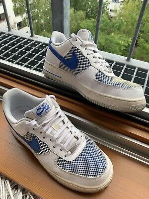 NIKE AIR FORCE 1 Low weiss blau Special Edition Gr. 43 Top