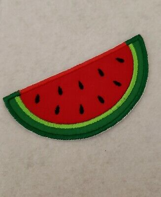 "7//8/"" x 1 1//2/"" Cross Stitch Smiley Face Watermelon Fruit Slice Embroidery Patch"