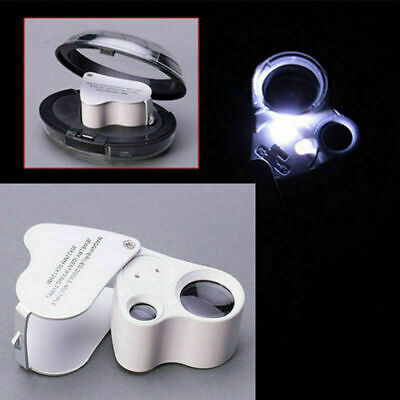 60X Glass Magnifying Magnifier Jeweler Eye Jewelry Loupe Loop With LED Light