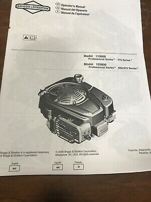 Briggs & Stratton Operating Maintenance Instructions Manual Professonal Series