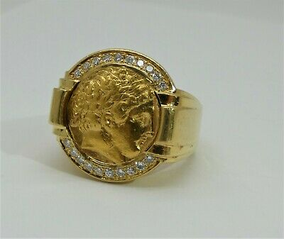 Custom 18k Gold and Diamond Ring with Genuine Ancient Greek Stater 359-336 BC