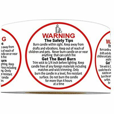 """50//1000 LOTS 1.5/"""" CANDLE WARNING Made in USA CAUTION LABELS for CANDLES"""