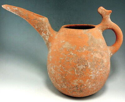 Very Rare Amlash Terracotta Spouted Jar With Zoomorphic Handle (N422)