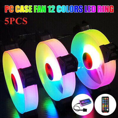 5 Pack RGB LED Quiet Computer Case PC Cooling Fan 120mm with 1 Remote Control