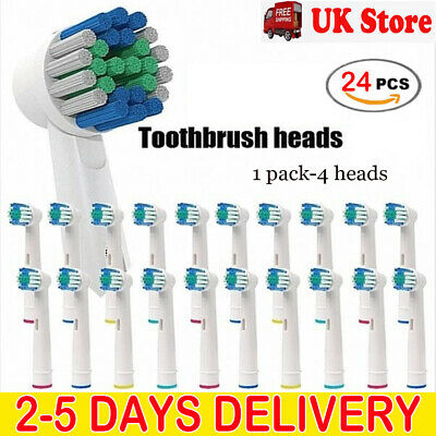 24x ELECTRIC TOOTHBRUSH HEADS COMPATIBLE WITH ORAL B BRAUN TOOTHBRUSH HEAD MODEL