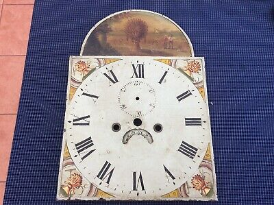 ANTIQUE ENAMELLED LONG CASE grandfather CLOCK FACE dial