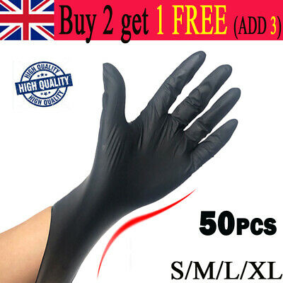 50PCS Disposable Black Powder/Latex Free Rubber Gloves Nitrile PPE S-XL All Size