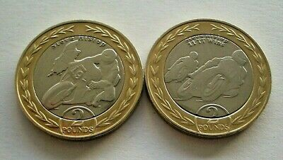 PAIR OF 2019 STEVE HISLOP ISLE OF MAN TT £2 TWO POUNDS COINS - IoM MANX T.T.