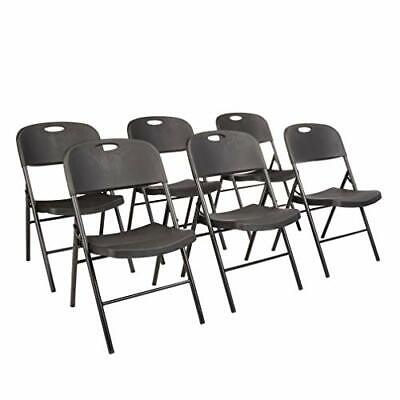 Durable Black Plastic Lot 6 Folding Chairs Stackable Wedding Party Outdoor Event