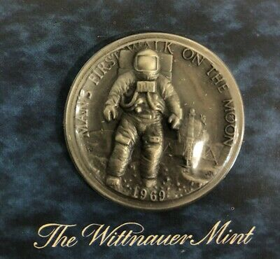 1969 Man's First Walk On The Moon Sterling Silver Medal