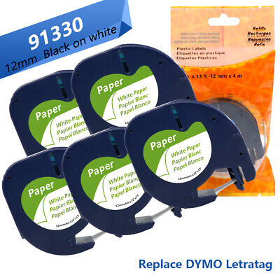 AONOMI 5 Pack Replace DYMO Letratag Labelling Refills 91330 10697 91331 10697