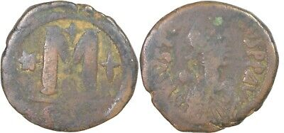 Byzantine Coin. JUSTINIAN I, AE-Follis. Constantinople., 518-527 AD, 14.63 gms