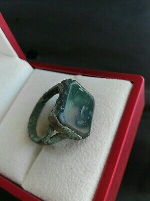 Genuine Ancient Islamic Antique Glass Green Authentic Handmade Ring Bronze Old