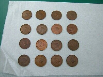GB UK George VI. 1937 - 1952 Farthing Date Run. Set of 16 Coins KM# 843 / 867