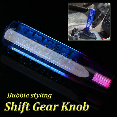 JDMBESTBOY Shift Knob Stick Crystal Transparent Bubble Purple Blue Throw Gear Shifter 20cm