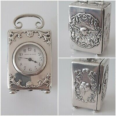 Pendule Voyage Argent WILLIAM COMYNS Carriage Clock Sterling Mappin & Webb 1903