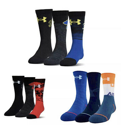 Under Armour UA Kids Youth Phenom Basketball Socks 3 Pack Curry 13.5K-4Y